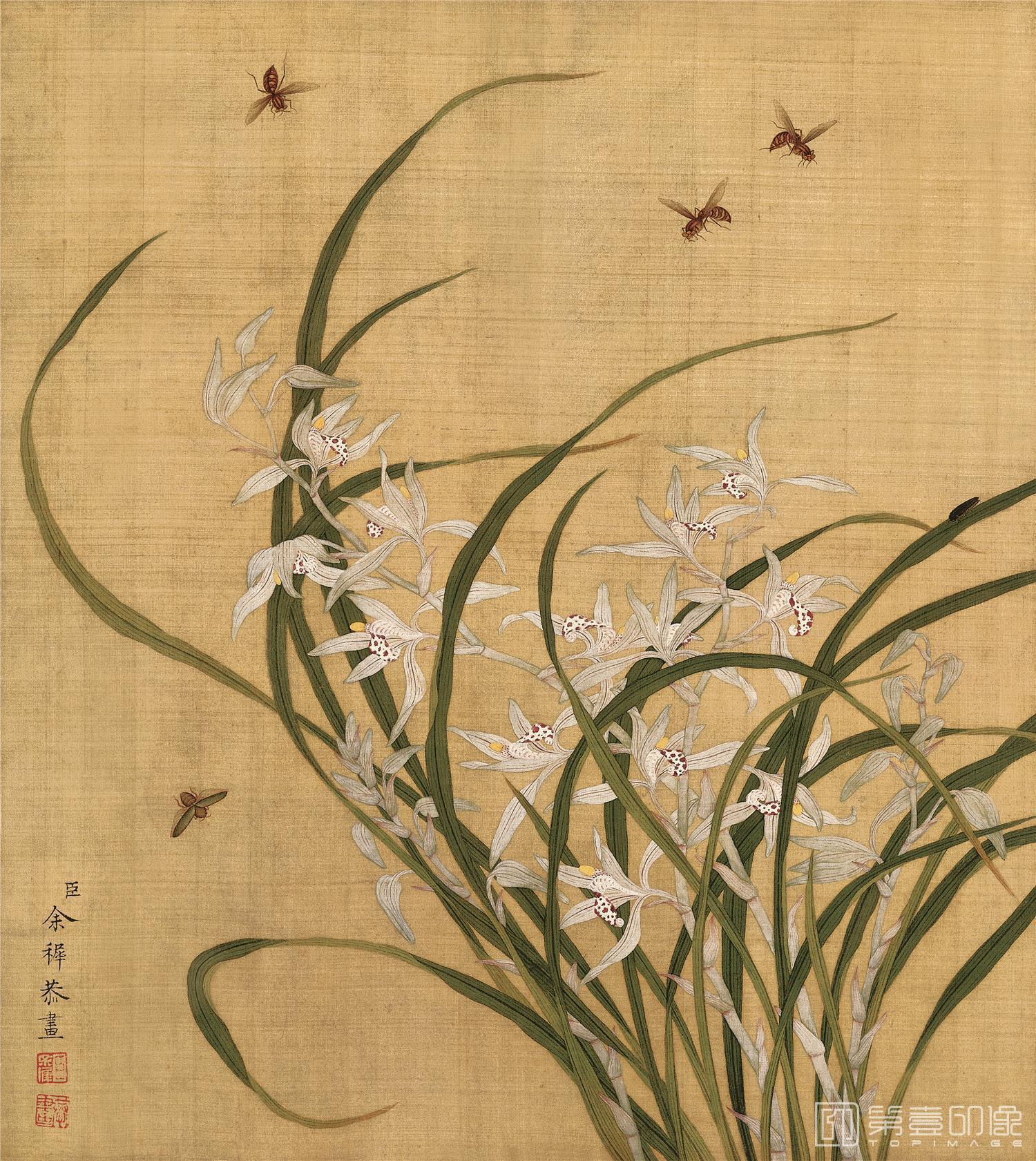 国画-国画-清-余稚-花鸟册-绢本-003-33x37cm