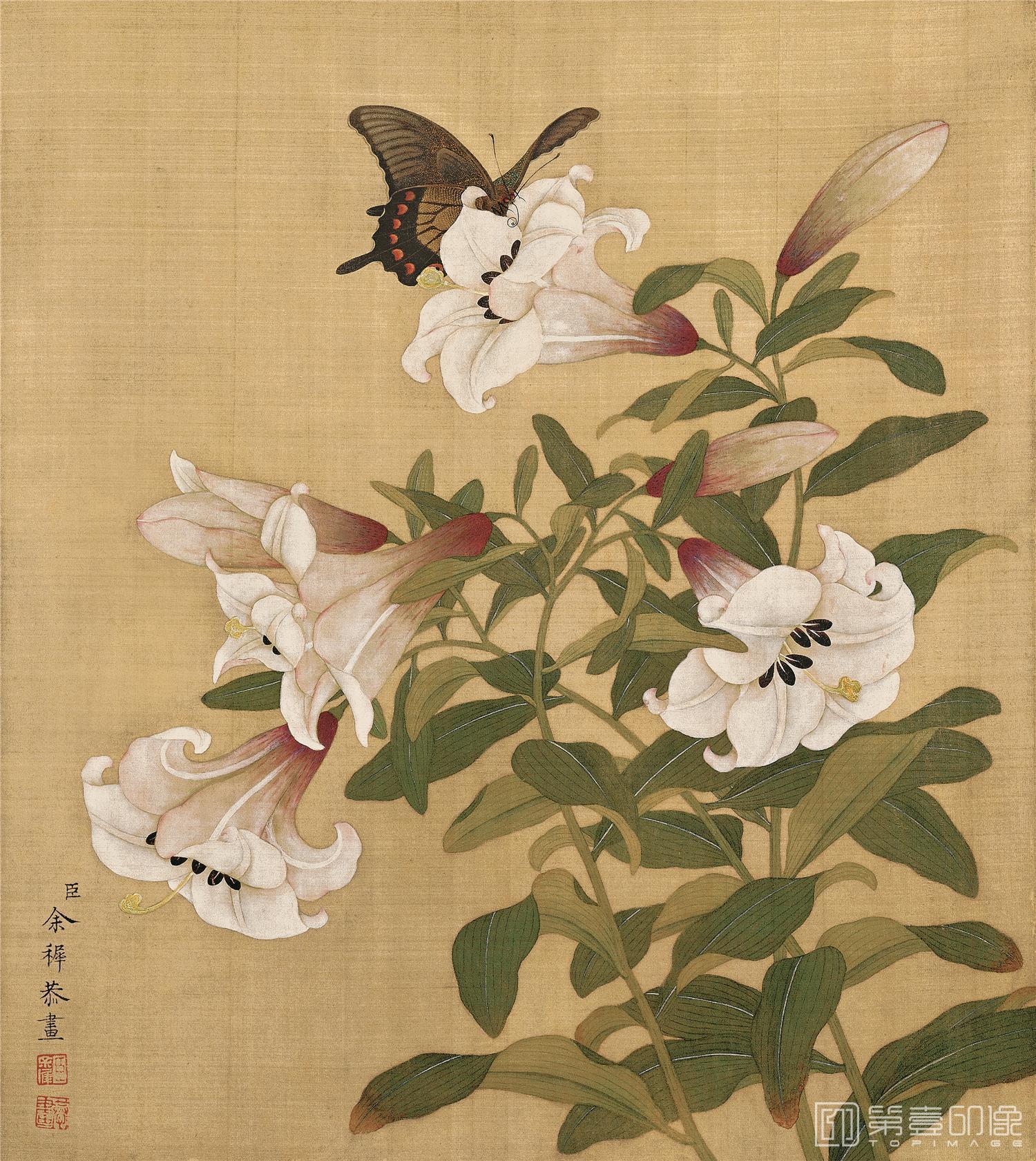 国画-国画-清-余稚-花鸟册-绢本-001-33x37cm