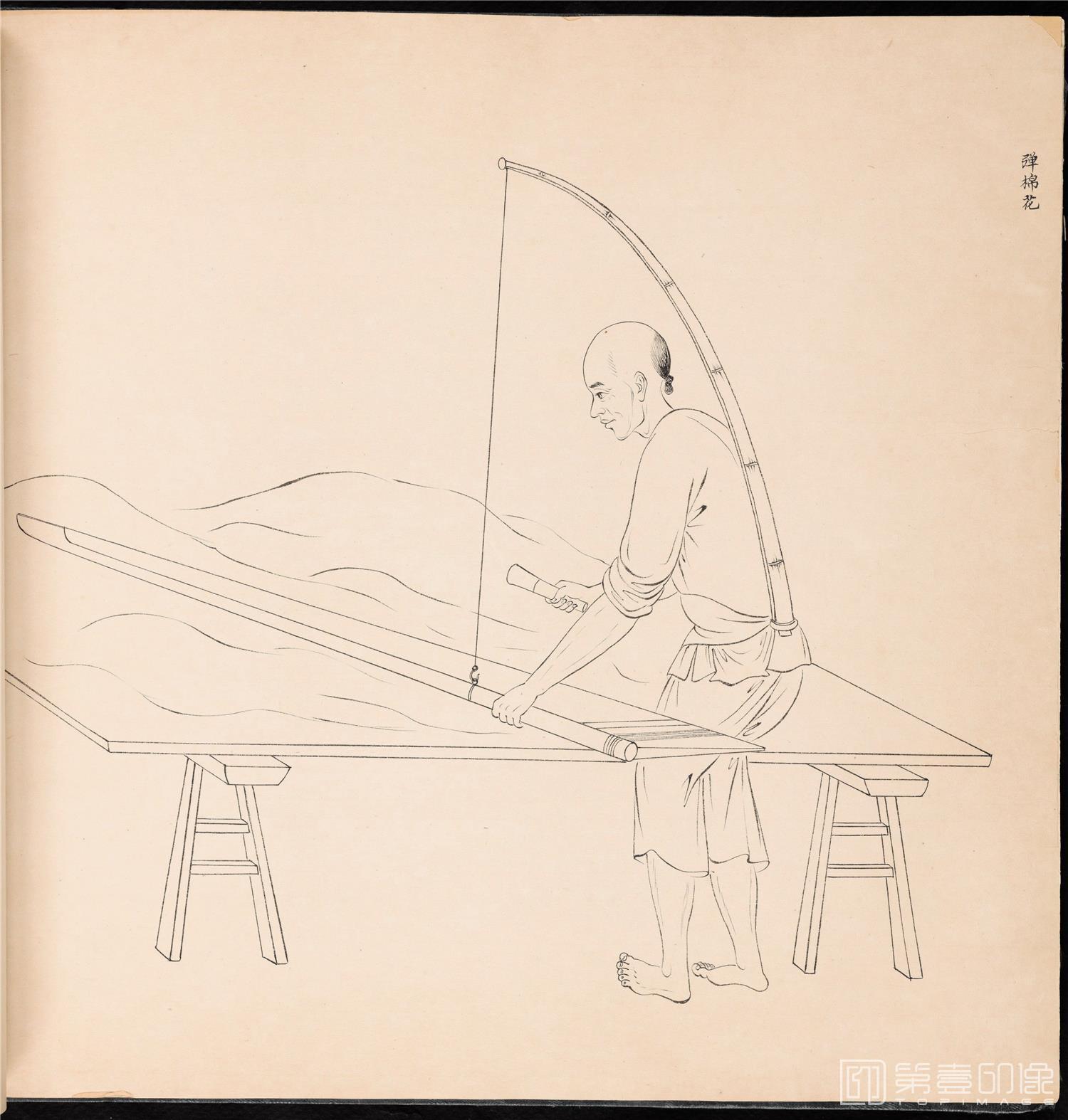 素描-清 佚名 白描街头买卖画册 纸本-002-39x42cm