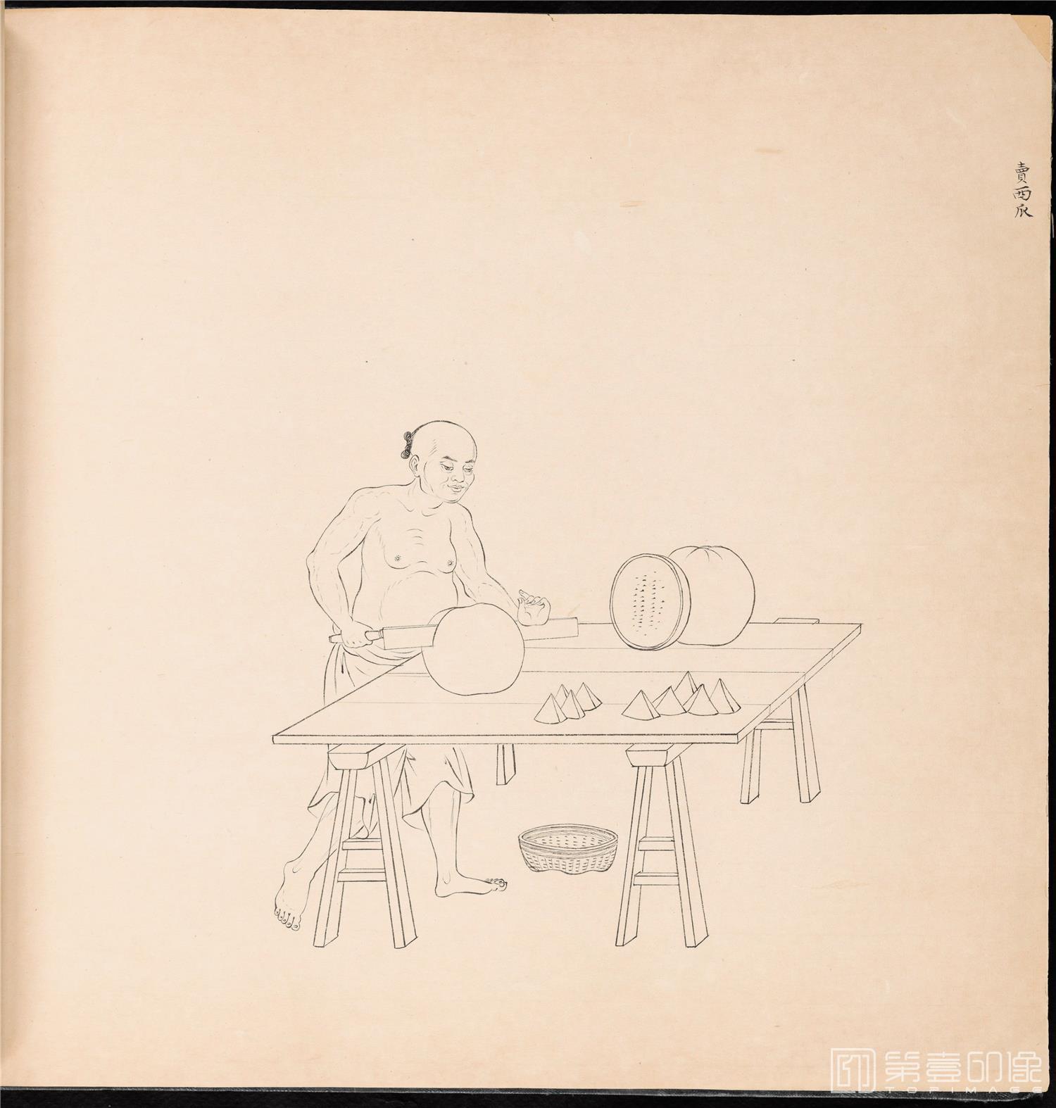 素描-清 佚名 白描街头买卖画册 纸本-006-39x42cm