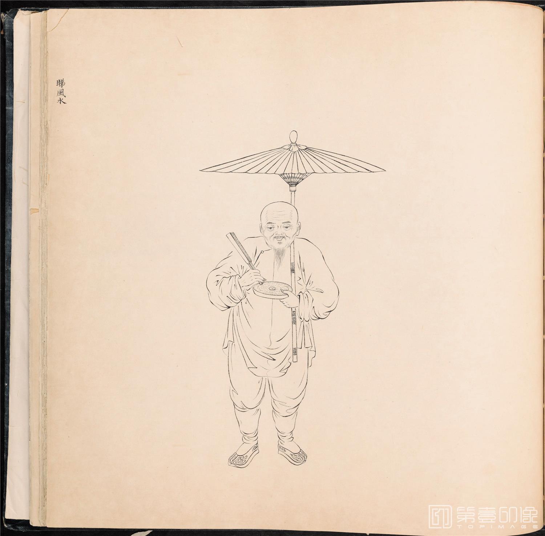 素描-清 佚名 白描街头买卖画册 纸本-007-39x42cm