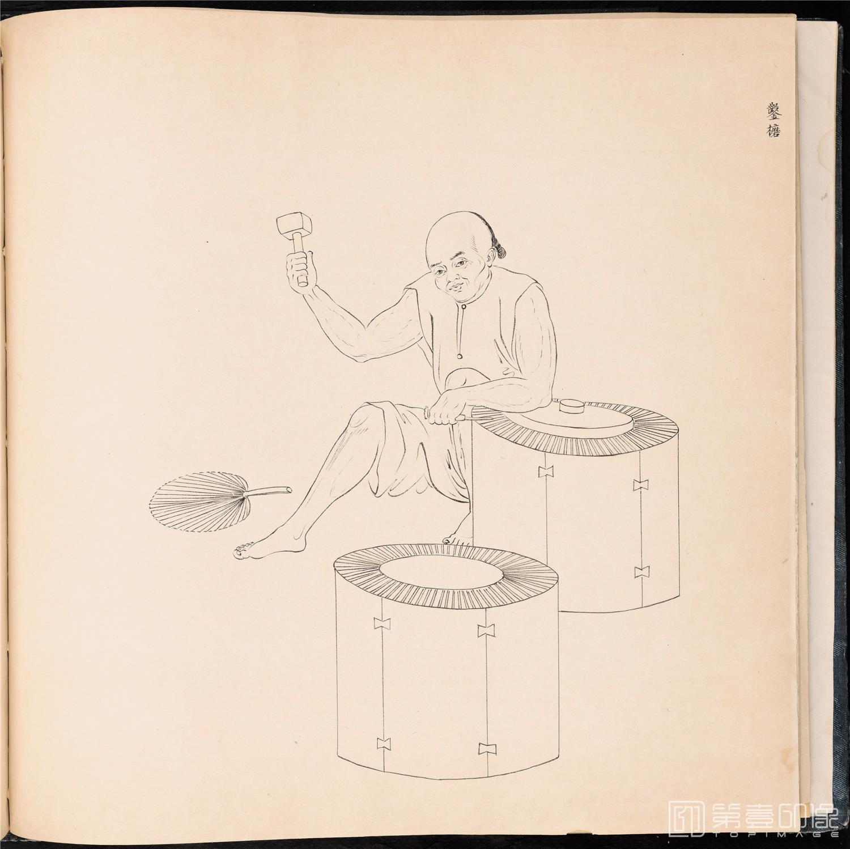 素描-清 佚名 白描街头买卖画册 纸本-001-39x42cm