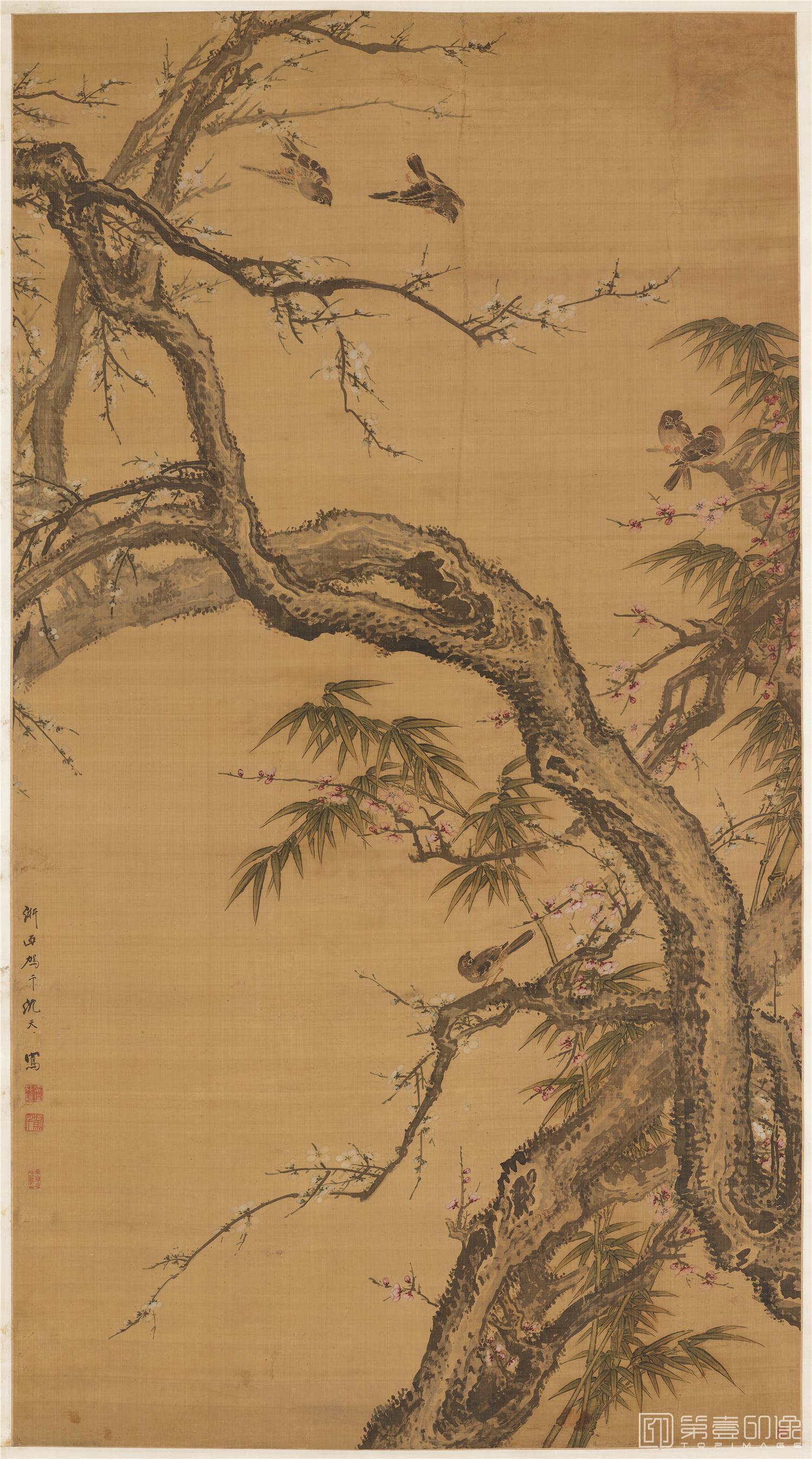 国画-国画-清 沈荃 梅雀图立轴绢本-1737×958cm