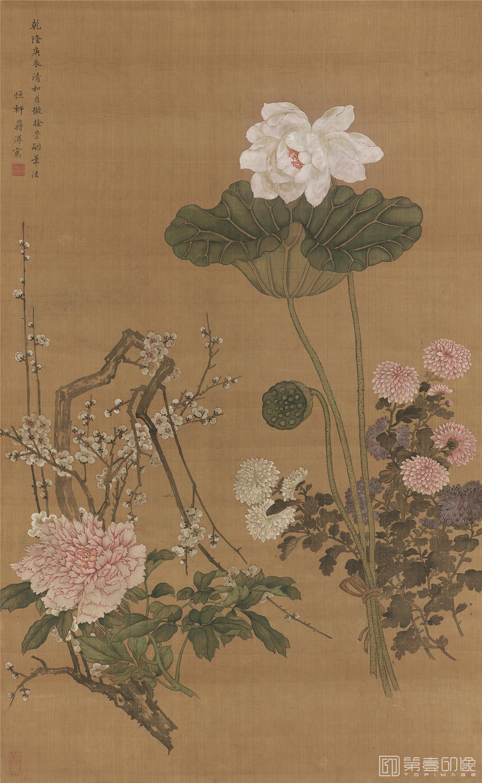 国画-国画-清 蒋溥 四季花卉绢本立轴-985×605