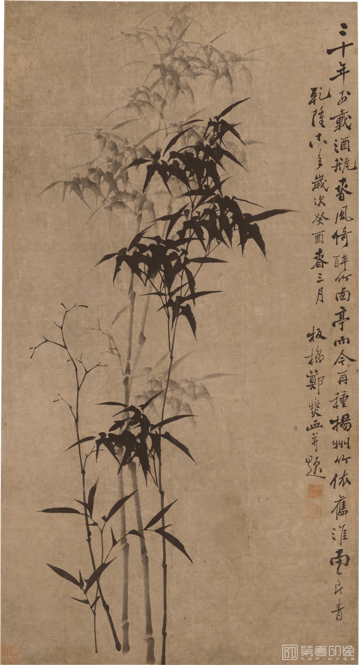 国画-国画-清 郑板桥 竹图立轴纸本-76×141