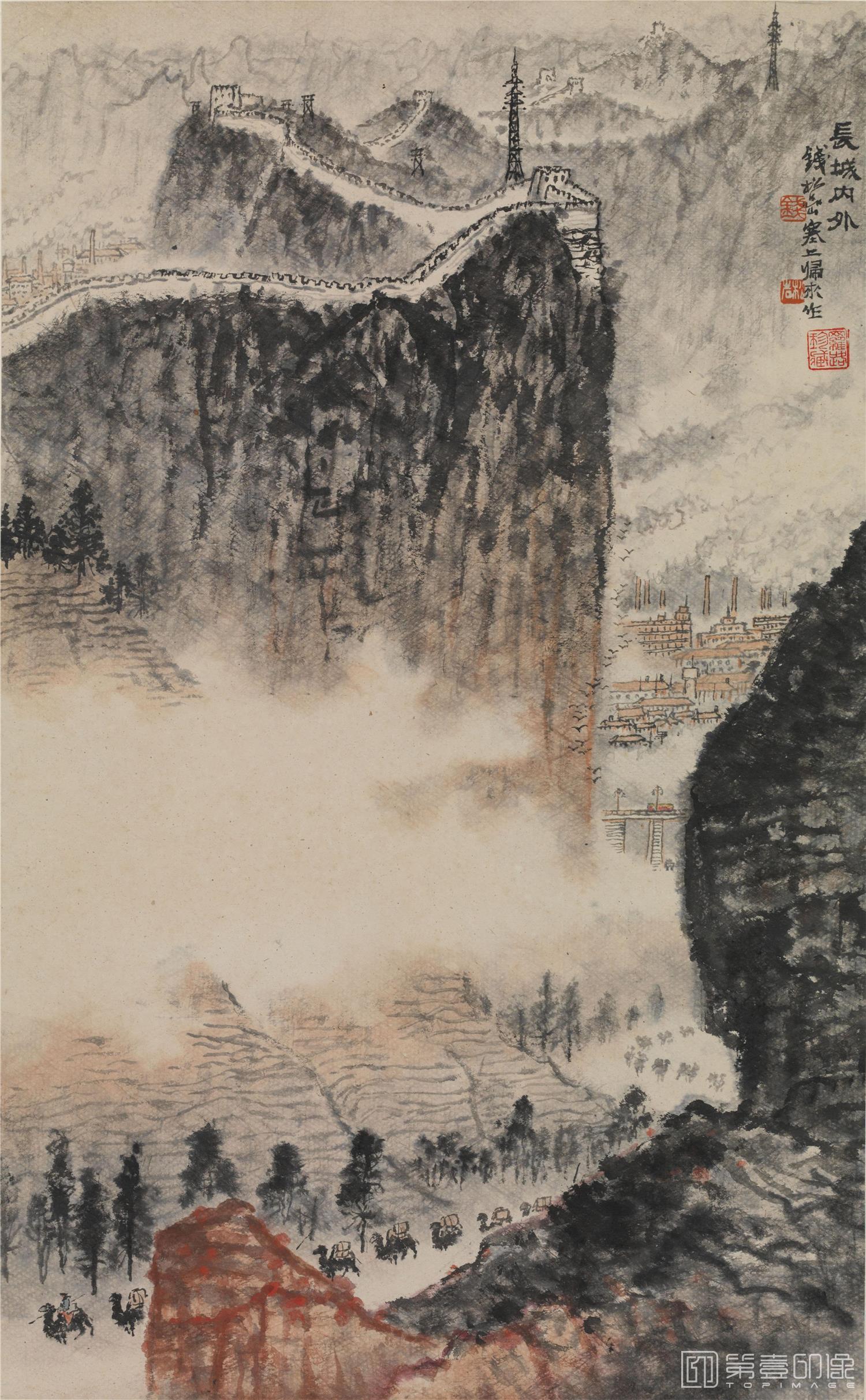 国画-国画-清 钱松喦 长城内外立轴纸本-51×83cm