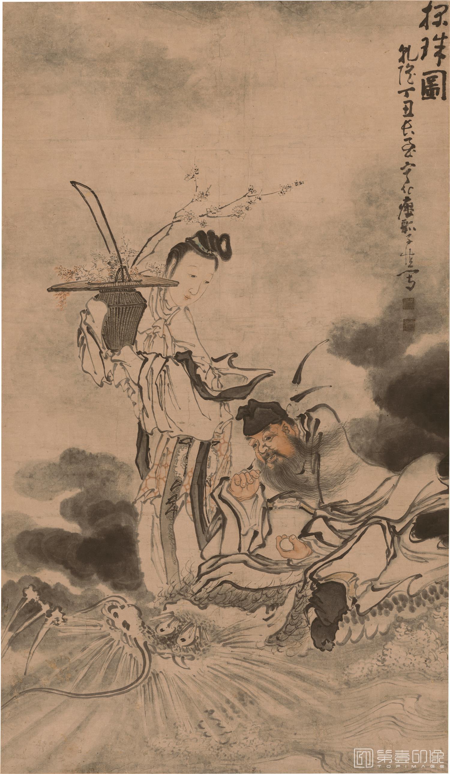 国画-国画-清 黄慎 探珠图立轴纸本-107×184