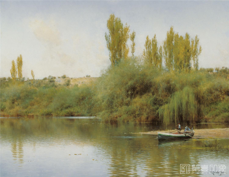 油画-西班牙喀门蒂森美术馆-Emilio Sánchez-Perrier Bank of the Guadaira with Boat