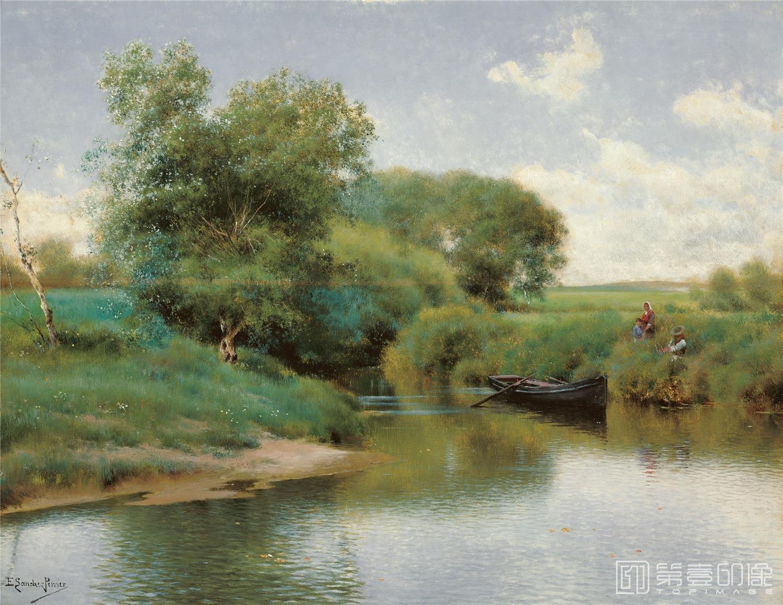 油画-西班牙喀门蒂森美术馆-Emilio Sánchez-Perrier Boating on the River
