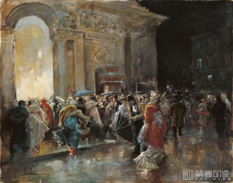 油画-西班牙喀门蒂森美术馆-Eugenio Lucas Villaamil Arriving at the Theatre on a Night of a Masqued B